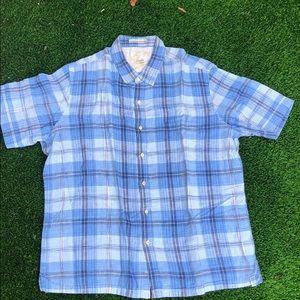 Tasso Elba plaid short sleeve button down shirt